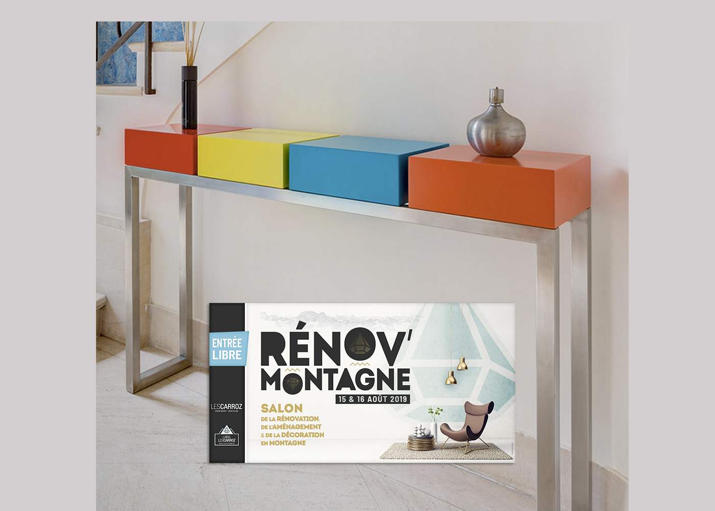 Mobilier contemporain design Les PIeds Sur La Table créateur et fabricant expose au Salon de la Décoration en Montagne Les Carroz proche Genève et Chamonix