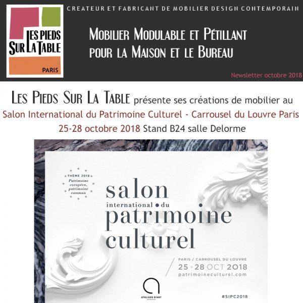 Créateur de Mobilier design contemporain Les Pieds Sur La Table expose au Salon International du Patrimoine Culturel Paris 25-28 octobre 2018
