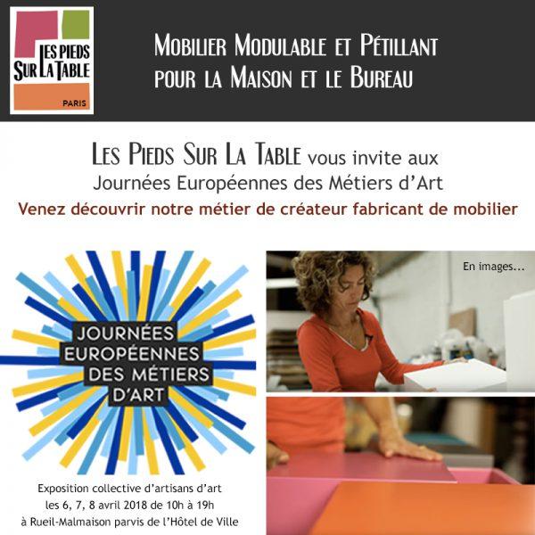 Métiers d'art, Exposition mobilier design Les Pieds Sur La Table aux Journées européennes des Métiers d'Art 2018 Rueil-Malmaison