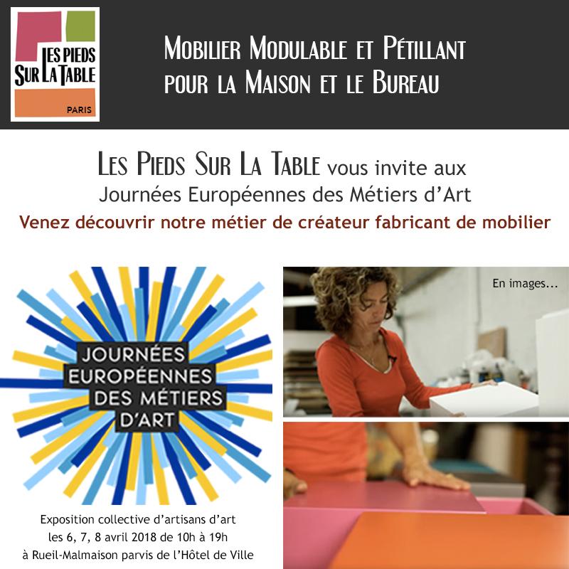 Métier d'art meuble contemporain. Exposition mobilier design Les Pieds Sur La Table aux Journées européennes des Métiers d'Art 2018 Rueil-Malmaison