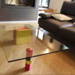 table basse laquee design en couleurs orange jaune et verre rectangulaire Pied G original mobilier modulable Les Pieds Sur La Table maison