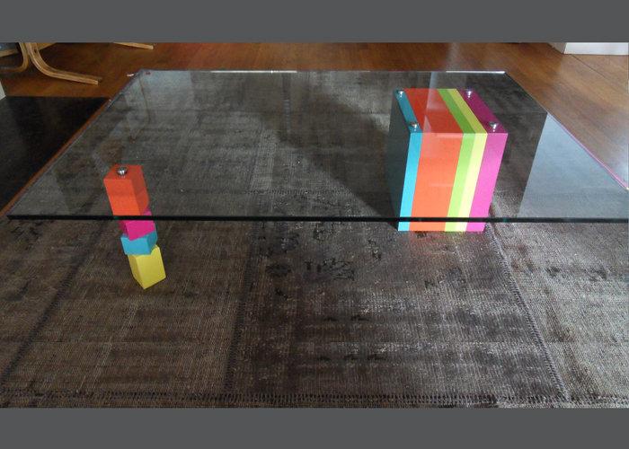 table basse en couleurs sur mesure et verre rectangulaire Pied G Original mobilier modulable Les Pieds Sur La Table