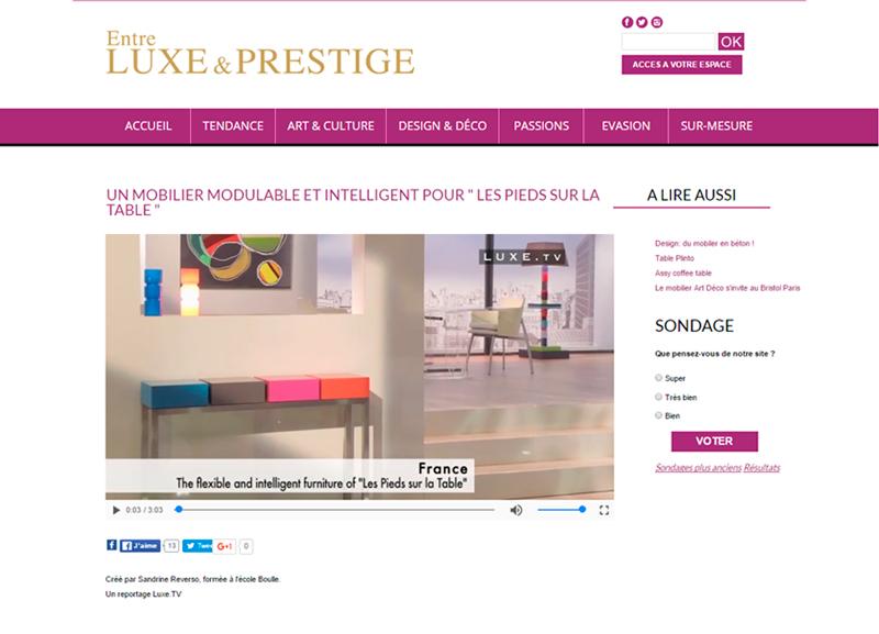 mobilier modulable et pétillant de couleurs dans le site Entre Luxe et Prestige