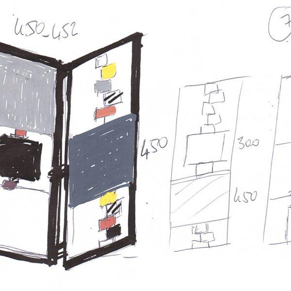 paravent contemporain acier marbre avec 2 vanteaux. Modèle Tournis-Pied paravent sur mesure. Création et fabrication meubles design Les Pieds Sur La Table croquis