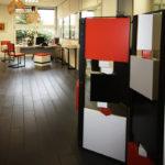 paravent cubique animé 3 panneaux acier et laque orange noir Tournis-Pied mobilier Les Pieds Sur La Table réalisation bureau entreprise