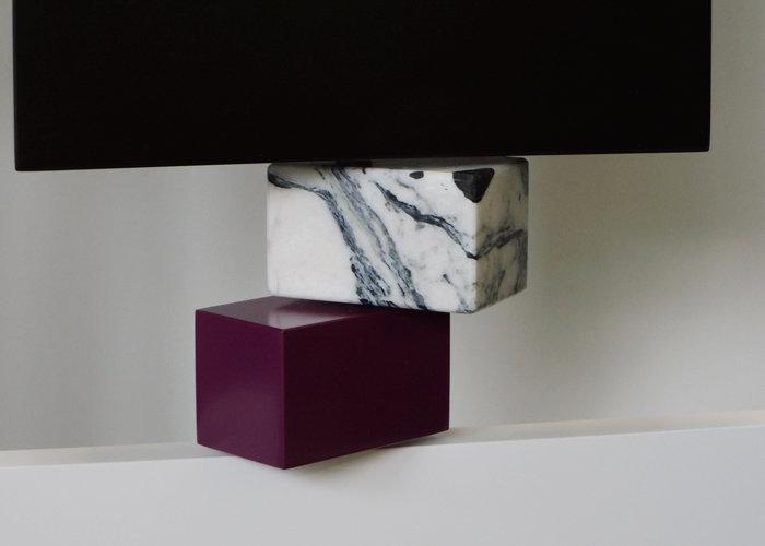 paravent cubique animé 3 panneaux laque et marbre Tournis-Pied mobilier Les Pieds Sur La Table édition limitée marbre détail marbre