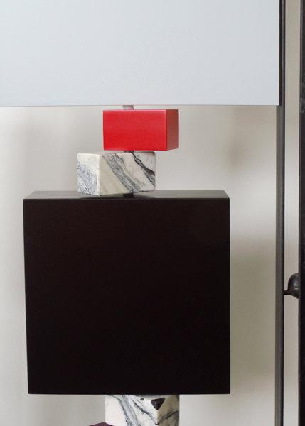paravent cubique animé 3 panneaux laque et marbre Tournis-Pied mobilier Les Pieds Sur La Table édition limitée marbre détail