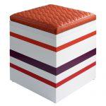 pouf grand modèle laqué blanc orange Group-Pied par Les Pieds Sur la Table