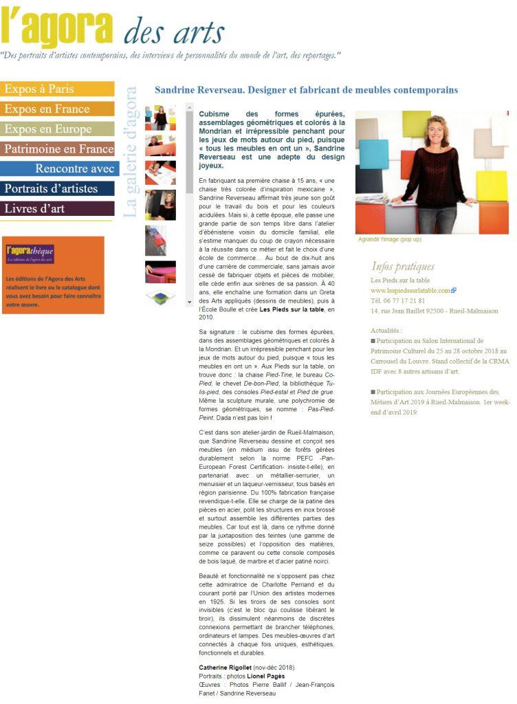 Reportage sur Sandrine Reverseau designer du mobilier design contemporain Les Pieds Sur La Table dans L'agora des arts web magazine, article