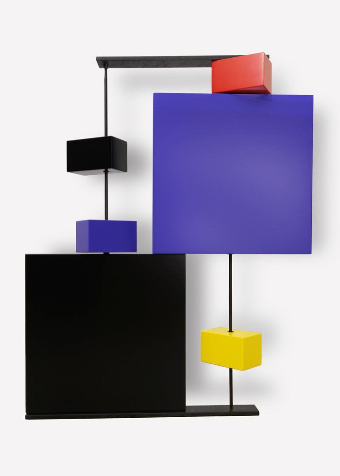 sculpture murale graphique animée verticale noir bleu Pas-Pied-Peint Mobilier Les Pieds Sur La Table modèle original
