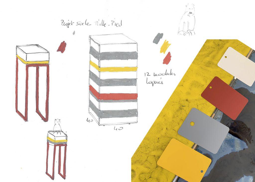 croquis socle pour sculpture sur mesure Mille-Pied laqué. Création et fabrication sur mesure par Les Pieds Sur La Table mobilier contemporain