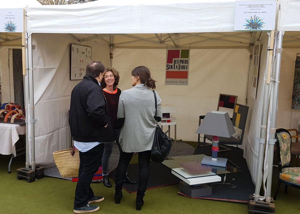 Métiers d'art, Exposition mobilier design Les Pieds Sur La Table aux Journées européennes des Métiers d'Art 2018 Rueil-Malmaison photo stand