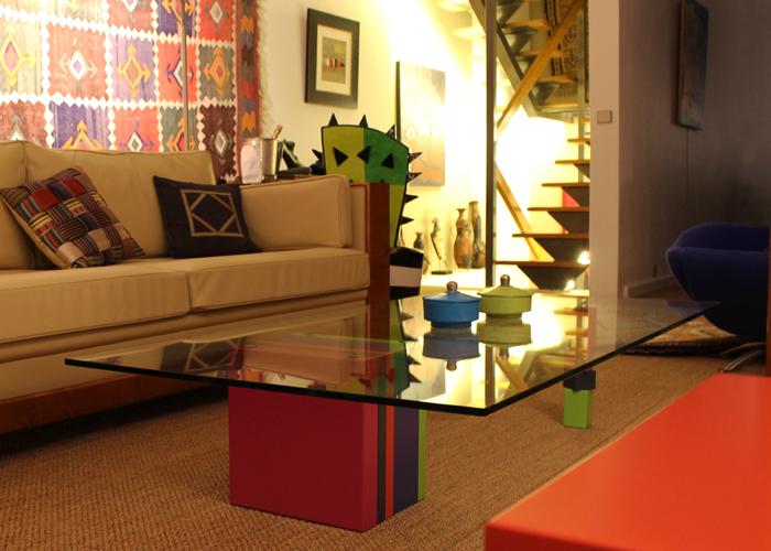 table basse laquée design en couleurs orange et verre rectangulaire Pied G original mobilier modulable Les Pieds Sur La Table realisation maison Paris