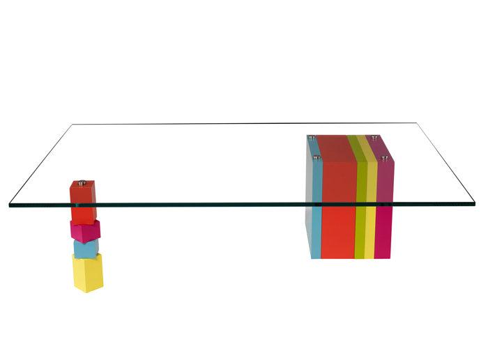 table basse en couleurs et verre rectangulaire Pied G Original mobilier modulable Les Pieds Sur La Table modèle original
