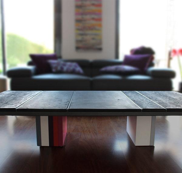 table basse caoutchouc et couleurs sur mesure carré Pied G mobilier modulable Les Pieds Sur La Table maison particulier