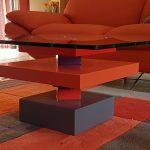 table basse laquée sur mesure en couleurs orange et verre carré Pied G Uno mobilier modulable Les Pieds Sur La Table maison