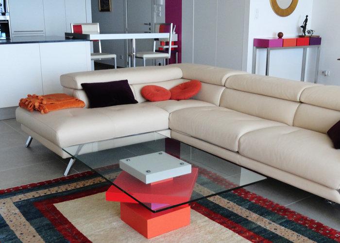 table basse design en couleurs et verre carré Pied G Uno mobilier modulable Les Pieds Sur La Table réalisation maison
