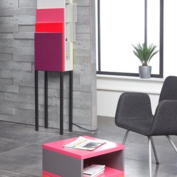 table basse accueil bureaux en couleurs et rangement Pied Monté mobilier modulable Les Pieds Sur La Table