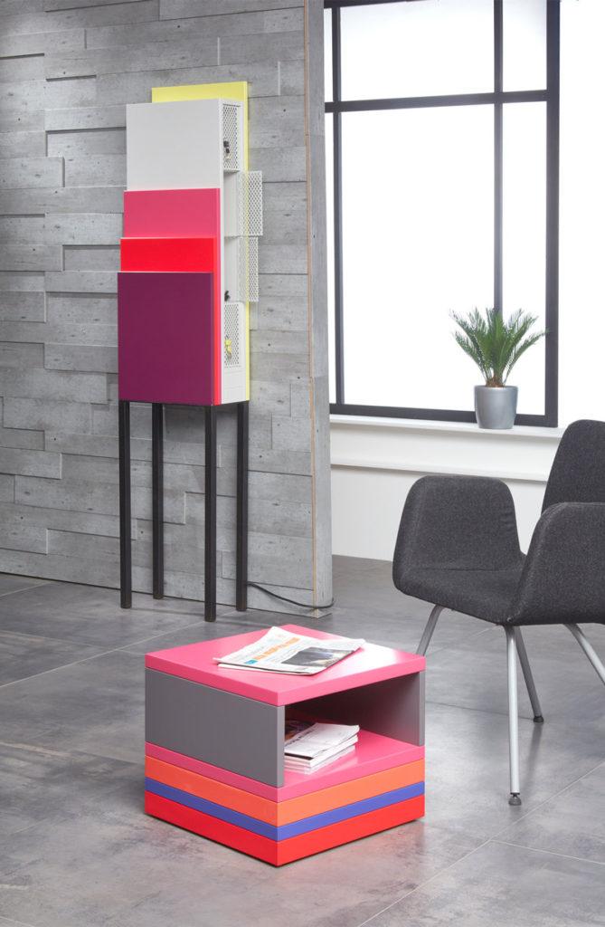 table basse accueil bureaux entreprise en couleurs et rangement Pied Monté mobilier modulable Les Pieds Sur La Table