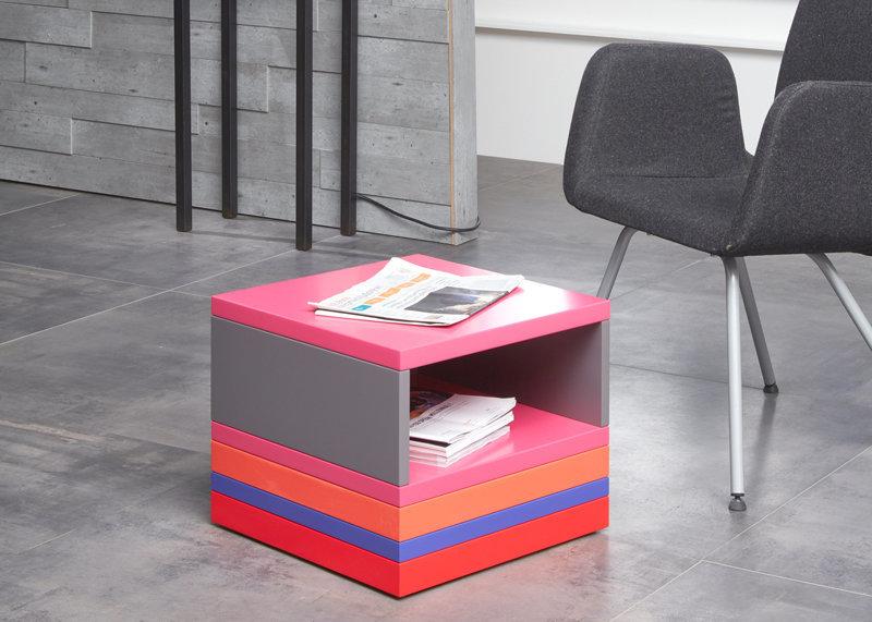 table basse accueil bureaux en couleurs vives Pied Monté mobilier modulable Les Pieds Sur La Table