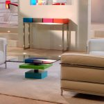 table basse laquée sur mesure en couleurs bleu vert et verre carré Pied G Uno mobilier modulable Les Pieds Sur La Table maison