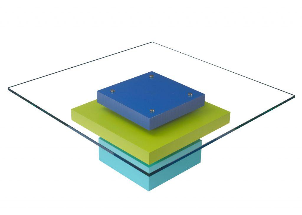 table basse laquée sur mesure en couleurs sur mesure et verre carre Pied G Uno mobilier modulable Les Pieds Sur La Table