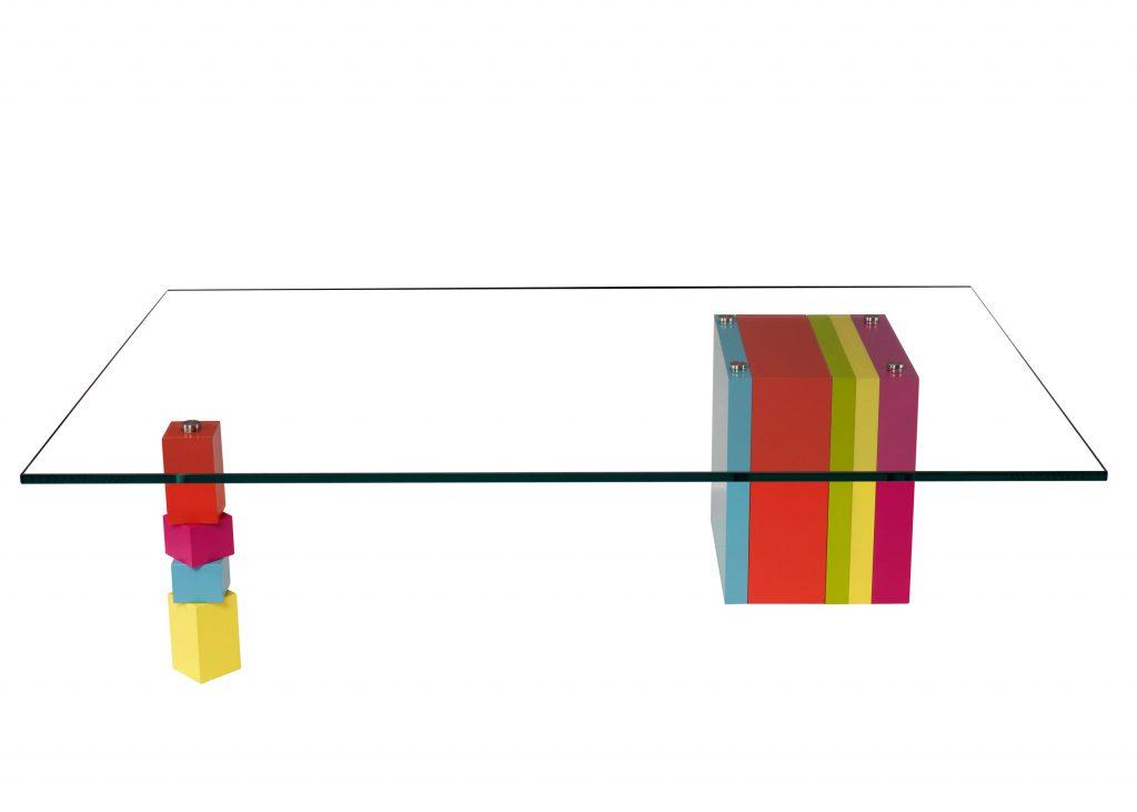 table basse laquée design en couleurs sur mesure et verre rectangulaire Pied G original mobilier modulable Les Pieds Sur La Table