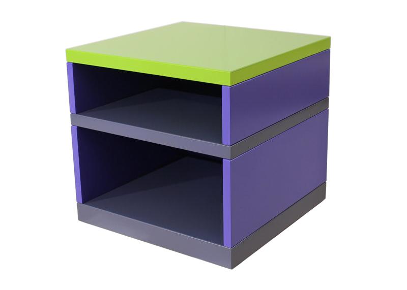 Table basse laquée bleu, gris, vert Pied-Monté. Meubles Les Pieds Sur La Table