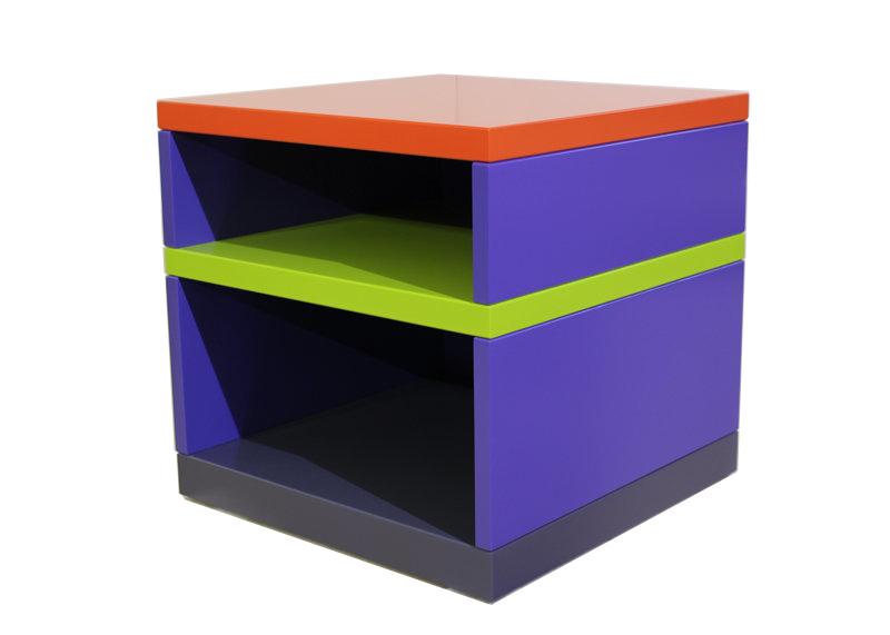 Table basse laquée bleu, orange, gris, vert Pied-Monté. Meubles Les Pieds Sur La Table