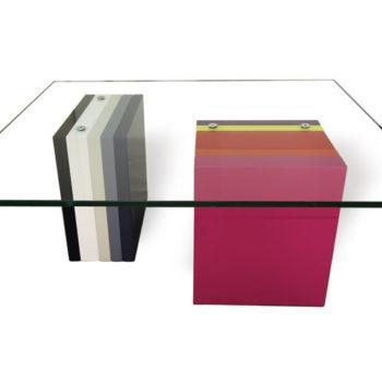 table basse en couleurs et verre rectangulaire Pied G Multi mobilier modulable Les Pieds Sur La Table