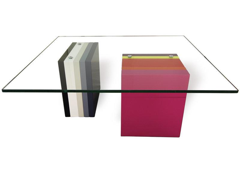 table basse en couleurs et verre rectangulaire Pied G Multi mobilier modulable Les Pieds Sur La Table modèle original