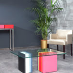 table basse accueil bureaux en couleurs et verre Pied G Multi mobilier modulable Les Pieds Sur La Table