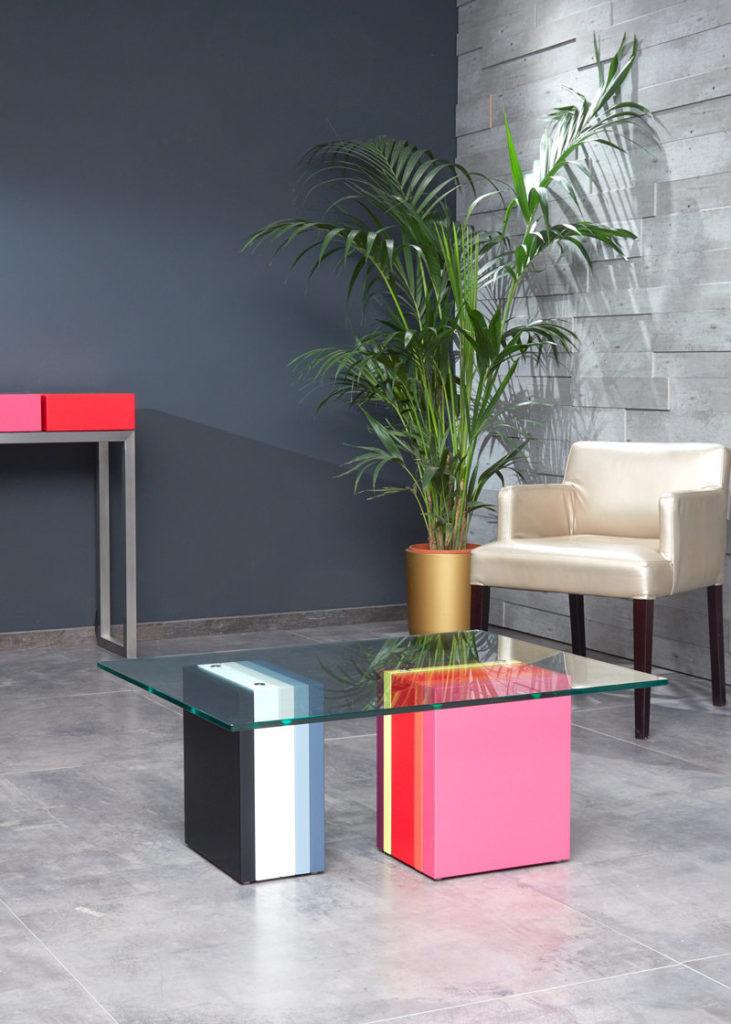 table basse en couleurs et verre Pied-G Multi mobilier Les Pieds Sur La Table