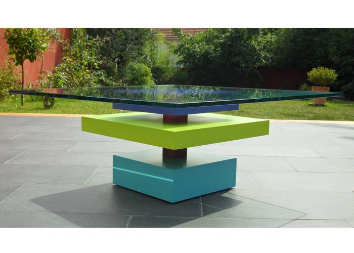 table basse laquee sur mesure en couleurs bleu vert et verre carré Pied G Uno mobilier modulable Les Pieds Sur La Table