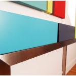 console design sur mesure décorative inox et cubes couleurs sur mesure Pied Estal mobilier Les Pieds Sur La Table détail