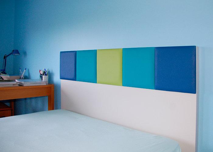 tête de lit murale sur mesure bleu beige Drap-Pied mobilier Les Pieds Sur La Table réalisation maison détail