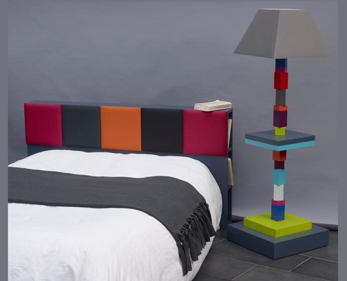 tête de lit avec rangements sur mesure couleurs vives L150 Drap-Pied mobilier Les Pieds Sur La Table