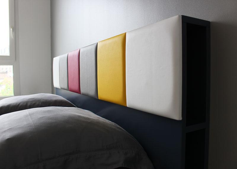 tête de lit avec rangements sur mesure gris jaune détail Drap-Pied mobilier Les Pieds Sur La Table réalisation maison